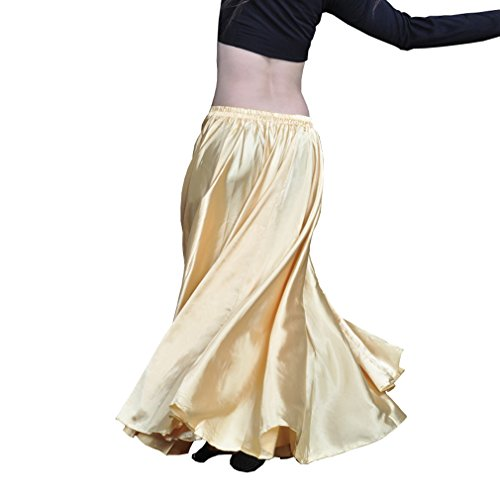 SHOLIND Womens Belly Dance Satin Long Dress Flamenco Costume Skirt (Gold) (Flamenco Dance Costumes For Girls)