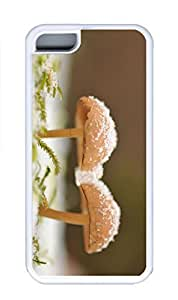 iPhone 5C Case, Personalized Custom Rubber TPU White Case for iphone 5C - Two Mushrooms Cover