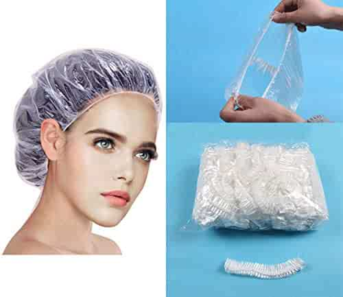 Shower Cap Disposable - 100 Pcs Thickening Women Waterproof Shower Caps Normal Size