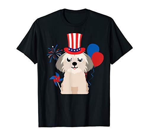 Shih Tzu Dog Uncle Sam Hat 4th of July T-Shirt