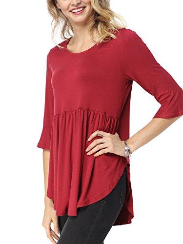Bauihr Womens Tunic Tops 3/4 Ruffle Detailed Sleeve T Shirt for Women Scoop Neck Basic Blouses