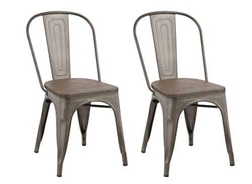 ndustrial Metal Vintage Tabouret Antique Copper Bronze Rustic Distressed Dining Bistro Cafe Stackable Side Chair (Set of 2), White ()