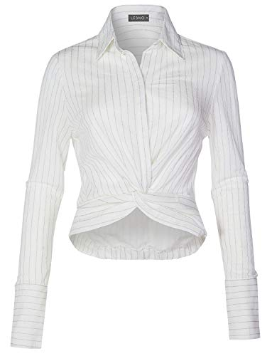 LE3NO Womens Casual Lightweight Stripe Twist Front Knot Button Down Blouse Shirt Top,Off-White,Large