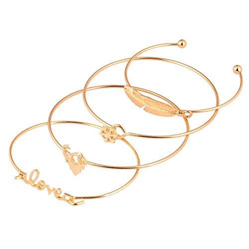 Qmcandy Gold Plated Leaf Elk Snowflake Love Stackable Open Cuff Bangle Bracelet Set for Women and Girls