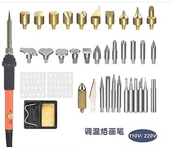 Prenine Kit de Soldador eléctrico, Cabezales de Grabado, Cabezal de Soldadura de estaño, Pinzas, Juego de Temperatura Ajustable Pyrography Pen Tools(60W 37 ...