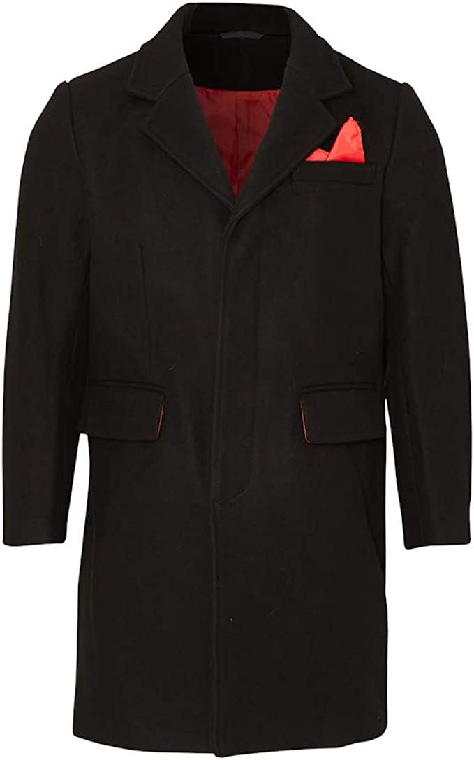 60s 70s Men's Jackets & Sweaters Relco Men`s Overcoat Black With Red Lining £174.99 AT vintagedancer.com