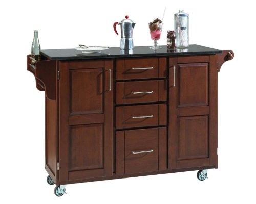 Black Granite Top On Medium Cherry Cabinet