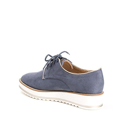 Ideal Shoes, Damen Schnürhalbschuhe Blau