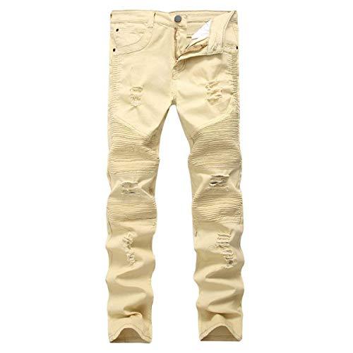 Strappati Vita lannister Qk Alta Jeans Denim Dritti In Lunghi Stretti Vintage Khaki Uomo Ragazzo Da Pantaloni A tg1tvwdxq