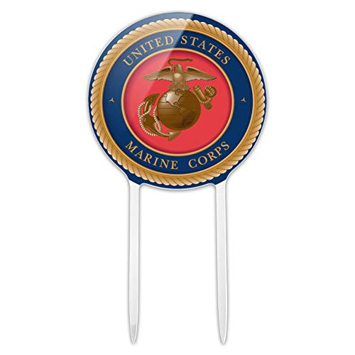 GRAPHICS & MORE Acrylic Marine Corps USMC Emblem Officially Licensed Cake Topper Party Decoration for Wedding Anniversary Birthday Graduation (Marines Cake Topper)