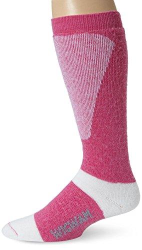 Carmine Rose - Wigwam Women's Snow Sirocco Midweight Wool Ski Sock, Carmine Rose, Medium