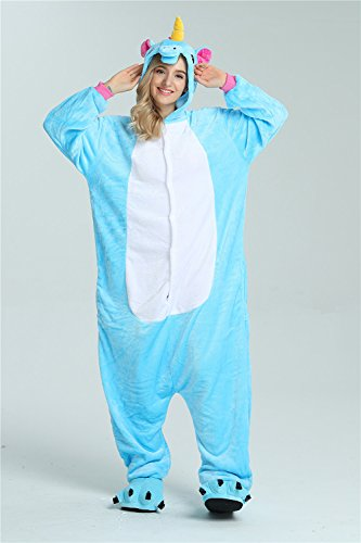 Cosplay Anime Tuta Pigiama Pajama Flanella Adult Costume OAMORE Blue Unicorn qSRXSB
