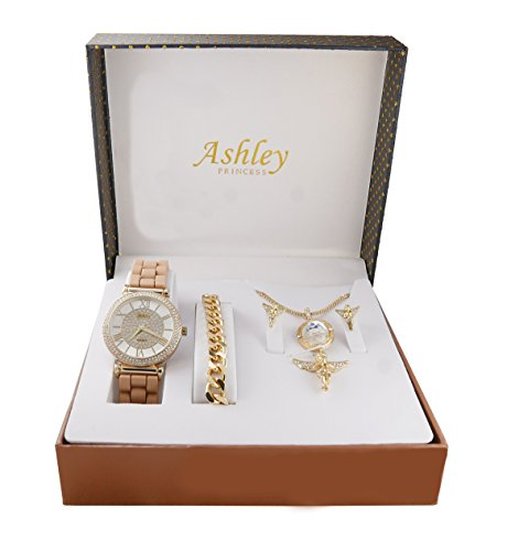 Iced Out Ladies Praying Guardian Angel Diamond Gem Pendent with Gold Necklace, Earrings, Gold Bracelet and Ladies Watch. Jewelry Set - 1412/8229-AG Beige (Set Pendent Gold)