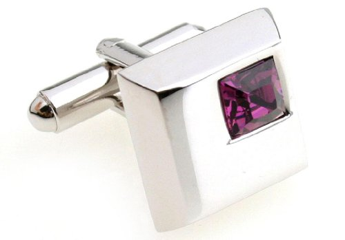MRCUFF Purple Square Crystals Pair Cufflinks in a Presentation Gift Box & Polishing Cloth