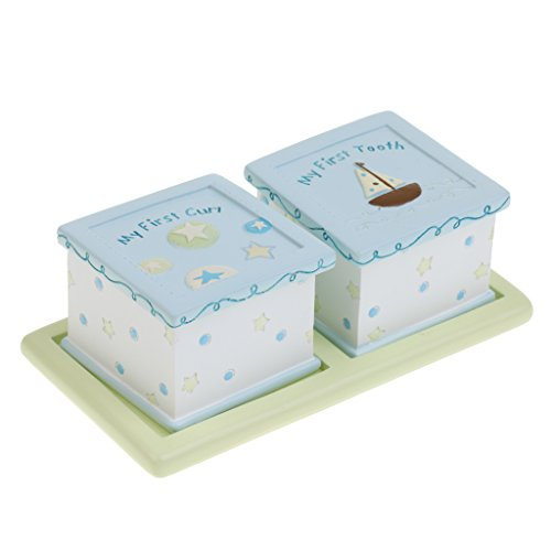 Blue First Tooth - Dovewill 2 Boxes / Set Blue Resin Boy Baby's MY FIRST TOOTH / First CURL Keepsake Box