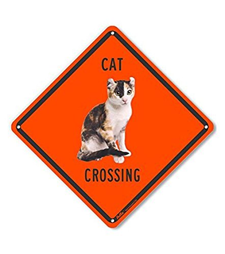 10 x 10 PetKa Signs and Graphics PKAC-0624-NA/_10x10Cat Crossing Aluminum Sign