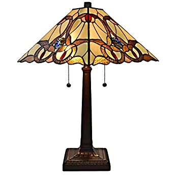Image of Amora Lighting Tiffany Style Table Lamp Banker Mission 23' Tall Stained Glass Tan Brown Red Vintage Antique Light Décor Night Stand Living Room Bedroom Handmade Gift AM341TL14, Multicolor Home Improvements