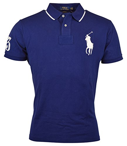 Mens Polo Ralph Lauren Custom Fit Big Pony Mesh Shirt (XL, Royal - Ralph Lauren Polos Sale