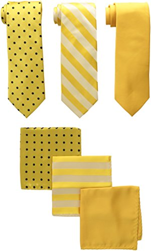 Stacy Adams Men's 3 Pack Satin Neckties Solid Striped Dots with Pocket Squares, Gold, One Size