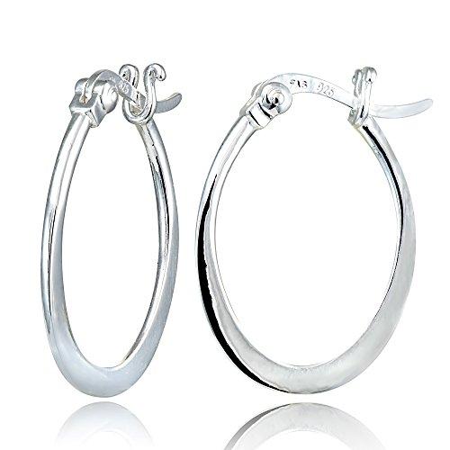 Hoops & Loops Sterling Silver Flat Oval Hoop Earrings Oval Loop Earrings