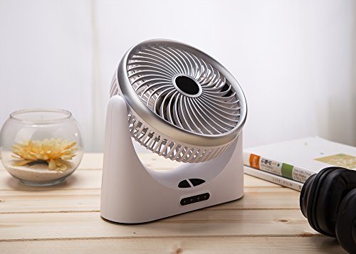 HCMAOE Mini USB Table Desk Personal Portable Air Circulator Fan 3 Speed, Lower Noise, Powered by USB or 4000mAh Rechargeable 18650 Battery with Power bank Function, Side LED Light for Office, (Silver) by HCMAOE (Image #8)