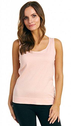 August Silk Women's Sleeveless Round Neck Silk Blend Twin Shell, Pink Chenille, Medium - Silk Blend Sleeveless Top