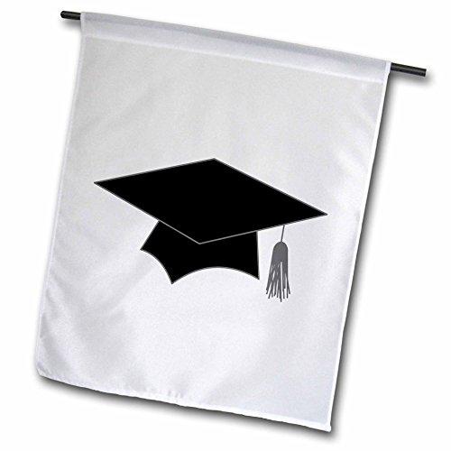 3d Rose 3dRose fl_31280_1 Graduation Cap White Garden Fla...