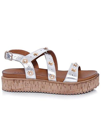 Inuovo Mujeres sandalias de cuña de corcho tachas Plata Plata