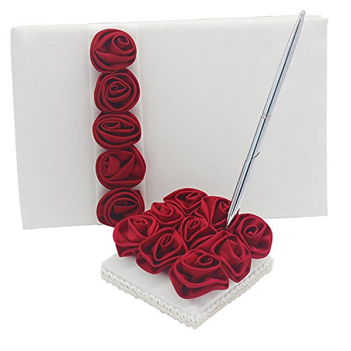 MyLifeUNIT Wedding Guest Book, Wedding Signature Book with Silk Rose Decoration, 70 Pages 8.27 x 6.30