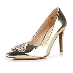 Gold Pointed Toe High Heel Stiletto Shoes
