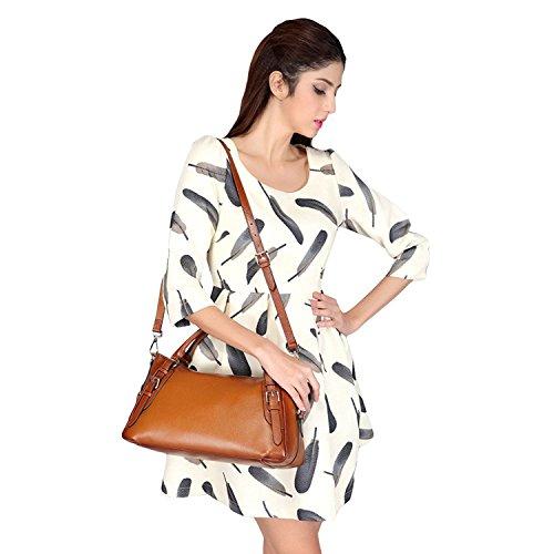 Mano Vaca Marrón negro zone Cruz Bolsa La Piel Hobo Bolso S Mano Cuerpo Vintage 9614 Hombro Mujer Suave De Bag axgqnxSI7