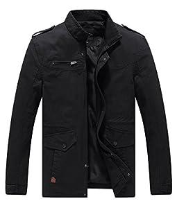 Lega Men's Casual Thick Jacket Cotton Stand Collar Windbreaker