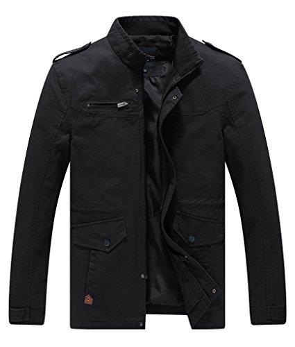 Lega+Mens+Cotton+Classic+Pea+Coat+Spring+%26+Fall+%26+Winter+Ourdoor+Jacket%28Black%2FUS+Large%2FAsia+4XL%29