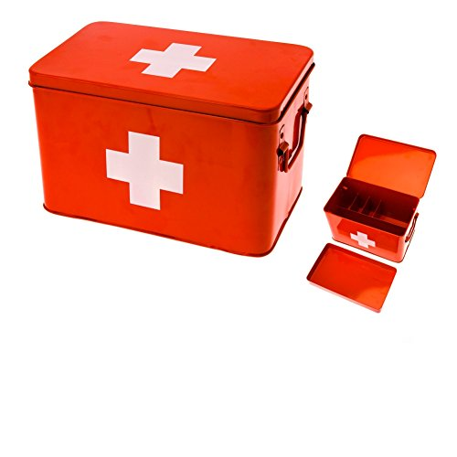 h White Cross Metal Medicine Storage Box, Large ()