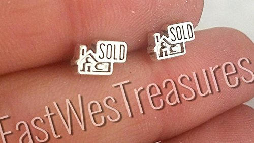 EWT Stainless steel reale state broker earrings/ Just sold a house earring/ real estate agent earrings/ Home earring/ minimalist earrings