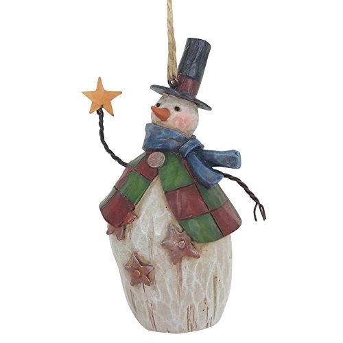 "Jim Shore Heartwood Creek Folklore Santa w/Star Snowman Stone Resin Ornament, 4.25"""
