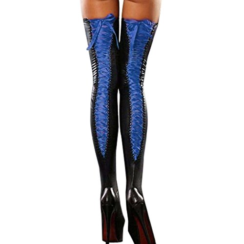 Skate Womens Ski Boots (Women's Sexy Stockings,Toponly Women Sexy Club Comfortable Thigh-high Stockings Leather Lace Bow Long Socks (Blue, Length:88cm/34.6
