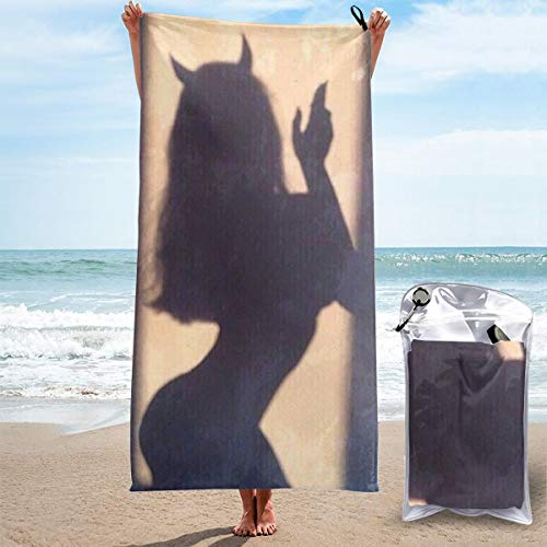 Girl with Devil Horns Shadow Yoga Towels Quick Dry Bath Sheets Microfibre Towel Swimming Sand Free Beach Towels for Womens 31.5