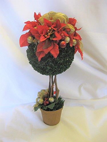 Poinsettia Globe Floral Topiary 12