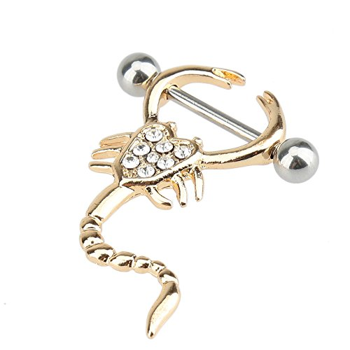 (1 Pair 16g Scorpion Style Nipple Rings Piercing Body Jewelry Barbell 14G)