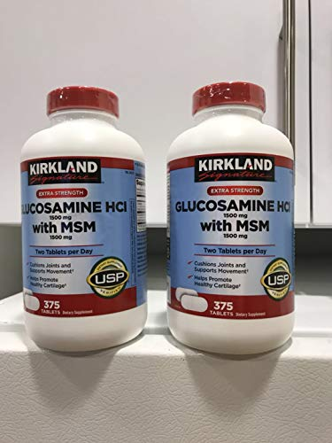 Kirkland Signature Glucosamine HCI (Pack of 2) Extra Strength with MSM (375 Count X 2)