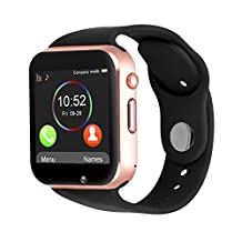 Kivors Bluetooth Smart Watch with Sim Card Slot GSM Sport Watch Activity Tracker Pedometer Smart Health Wrist Watch Phone For Android IOS Mobile Phone (Gold Black)