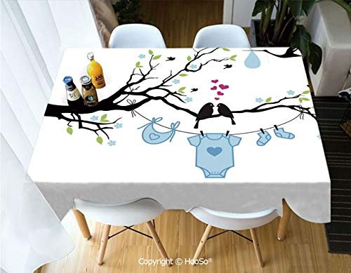 HooSo Fabric Rectangular Table Cloth, Washable Table Cover Perfect for Christmas, Thanks Giving, Dinner Parties, BBQ and Everyday Use,Gender Reveal Decorations,Love Birds on Tree and Child,60