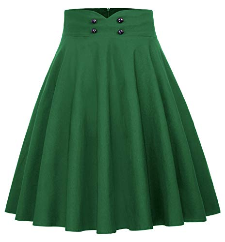 Ladies Fashion A-line Skirt - Belle Poque Ladies A-Line Street Skirts High Waist Pleated Skirt Green Size M