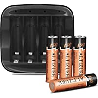ALTIZURE 15 Minutes Full 20000 Cycles Rechargeable AA Battery Charger with 4 AA Rechargeable Lithium Ion Batteries