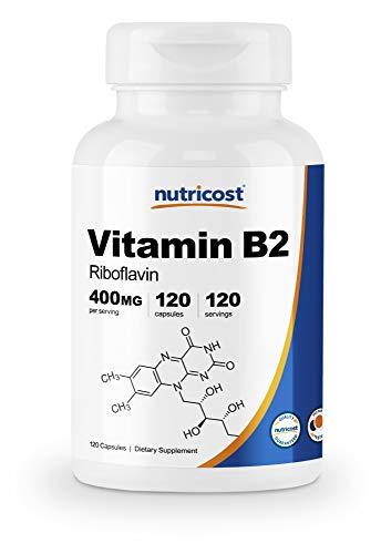 Nutricost Vitamin B2 (Riboflavin) 400mg, 120 Capsules – Gluten Free, Non-GMO