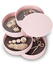 CONBOLA Jewelry Organizer Box, 4-Tier Earring Organizer Box for Women Kids Traveling, Small 360 Degree Rotating Storage Case for Earring Rings, Fits Small Spaces on Dressers