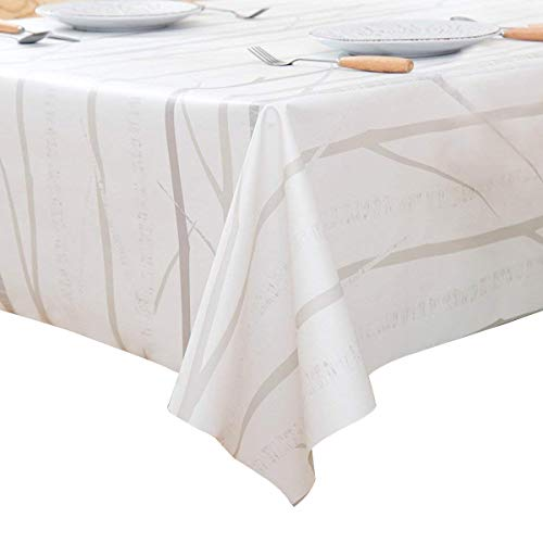 LEEVAN Heavy Weight Vinyl Rectangle Table Cover Wipe Clean PVC Tablecloth Oil-proof/Waterproof Stain-resistant/Mildew-proof - 54 x 108 Inch,Tree Branch ()