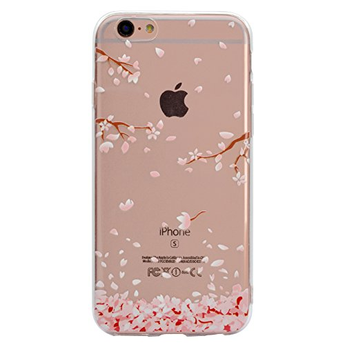 Price comparison product image Aearl for iPhone 6 Plus/ 6S Plus Case,Slim-Fit Ultra-Thin Anti-Scratch Shock Proof Anti-Finger TPU Silicone Transparent Clear Cover with Screen Protector for iPhone 6S Plus/ 6 Plus - Cherry blossom