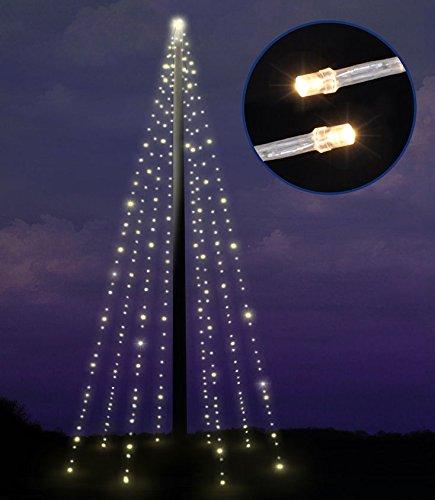 Lichterkette für Fahnenstangen bzw. Fahnenmast - 8 Stränge à 10 Meter mit 400 LED warm weiß + Timer